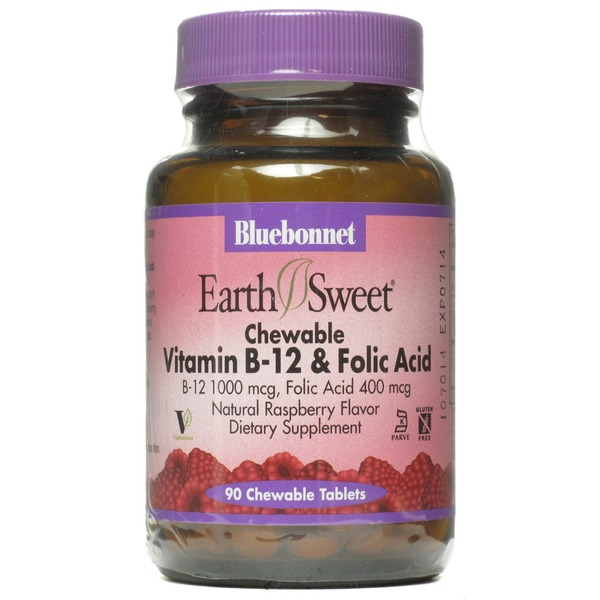 Bluebonnet Earth Sweet Chewable Vitamin B12 1000 Mcg & Folic Acid 400 Mcg