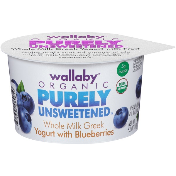 Wallaby Organic Purely Unsweetened Greek Whole Milk with Blueberries Yogurt