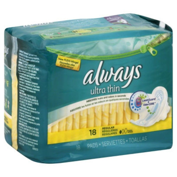 Always Thin Ultra Always Ultra Thin Size 1 Regular Pads With Wings, Unscented, 18 count Feminine Care