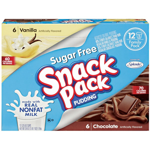 Snack Pack Sugar Free Vanilla & Chocolate 12 Ct Pudding