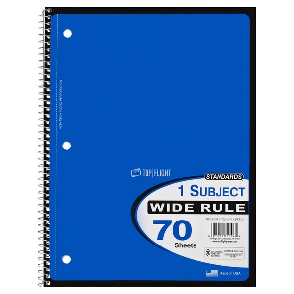 Top Flight Notebook, Wide Rule, 1 Subject, Not Packed