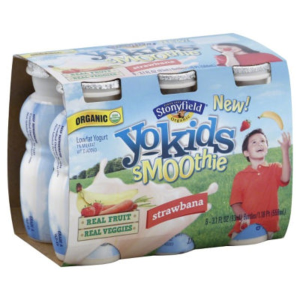 Stonyfield Organic YoKids Organic Lowfat Strawberry Banana Yogurt Smoothie