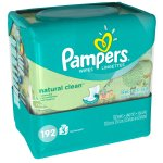 Pampers Natural Clean Baby Wipes, Unscented, 3 packs of 64 (192 count)