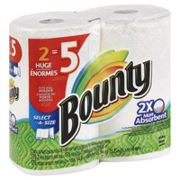 Bounty Basic Select-A-Size Paper Towels, White, 2 Huge Rolls = 5 Regular Rolls  Towels/Napkins