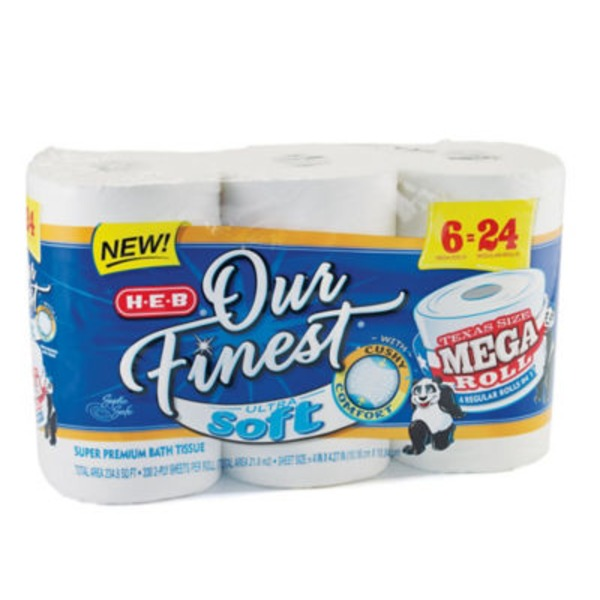 H-E-B Our Finest Ultra Soft Bath Tissue Mega Rolls