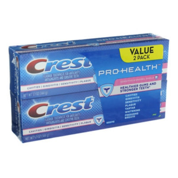 Crest Pro-Health Sensitive and Enamel Shield Toothpaste 5.1 oz., Twin Dentifrice