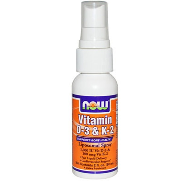 Now Vitamin D-3 1000 IU & K-2 100 mcg Liposomal Spray