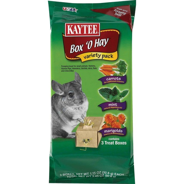 Kaytee Single Serve Foraging Treat Box 'O Hay Variety Pack