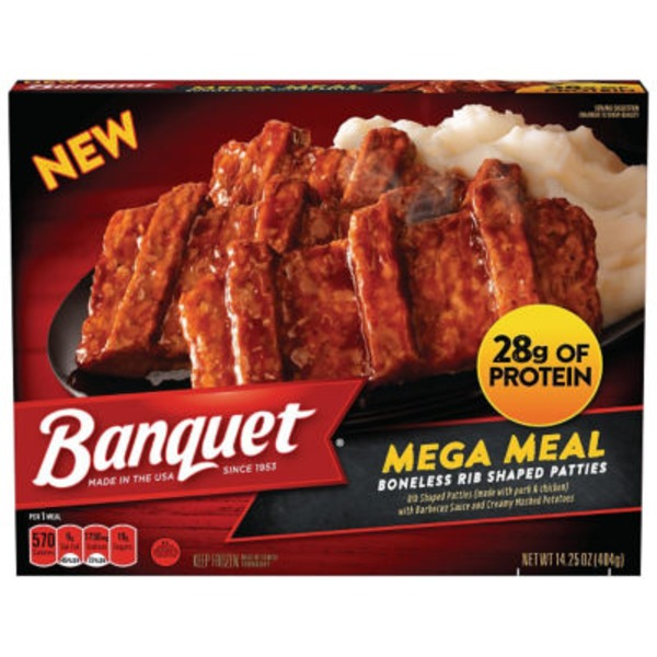 Banquet Mega Meal Boneless Rib Shaped Patties