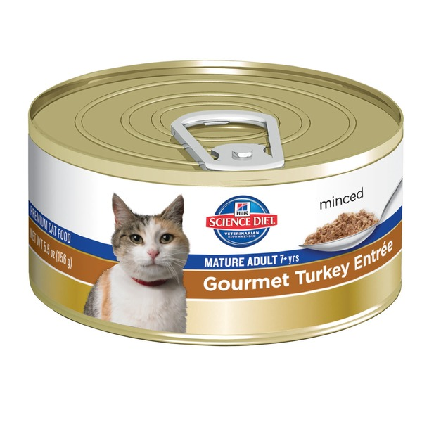 Hill's Science Diet Cat Food, Minced, Mature Adult (7+ Years), Gourmet Turkey Entree