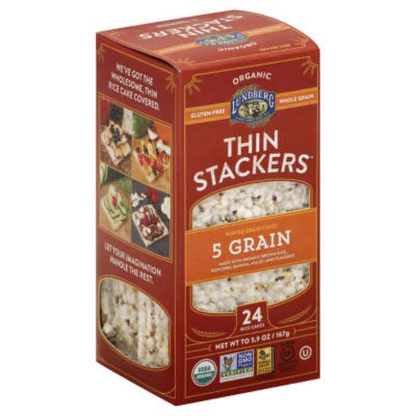 Lundberg Family Farms Thin Stackers Organic 5 Grain Puffed Grain Cakes