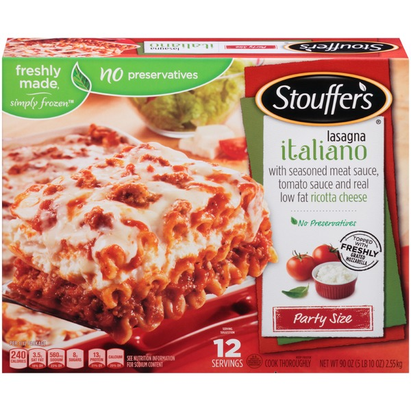 Stouffer's Party Size Seasoned meat sauce, tomato sauce & real low-fat Ricotta cheese Lasagna Italiano