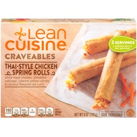 Lean Cuisine Craveables White meat chicken, shredded cabbage, julienne yellow carrots and spicy red coconut flavored curry Thai-Style Chicken Spring Rolls
