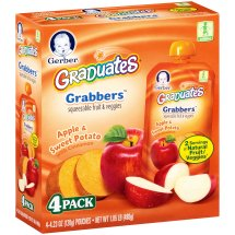 Gerber Grabbers Fruit & Veg Squeezable Puree, Apple and Sweet Potato with Cinnamon, 4.23 oz Pouch (Pack of 4)