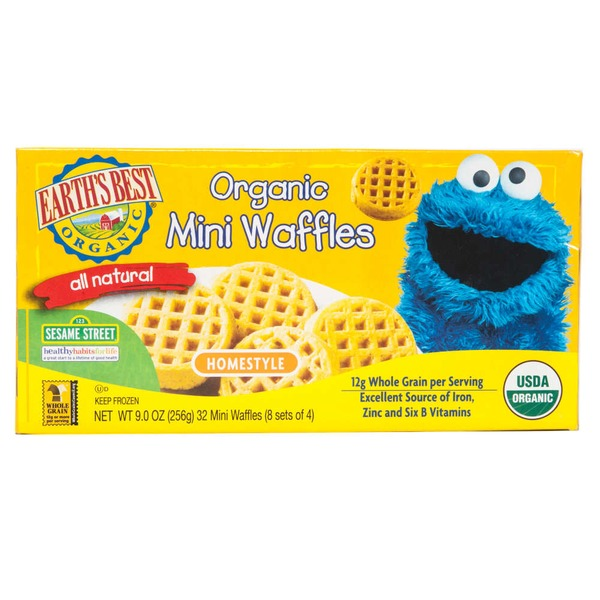 Earth's Best Organic Mini Waffles Homestyle - 32 CT