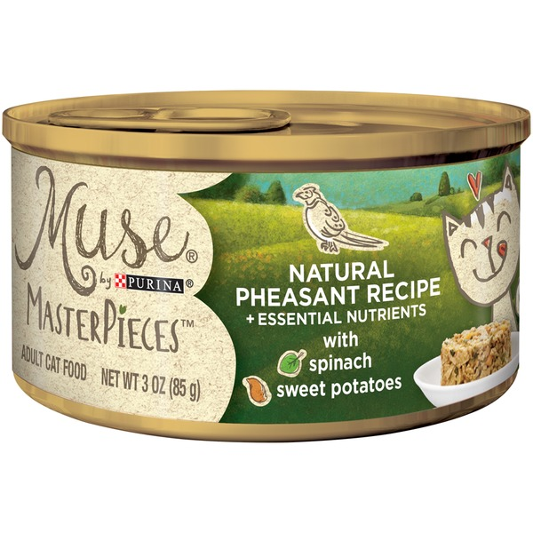 Muse Wet MasterPieces Natural Pheasant Recipe accented with Sweet Potato & Spinach Cat Food