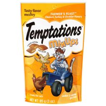 TEMPTATIONS MixUps Treats for Cats FARMER'S FEAST Flavor 3 Ounces