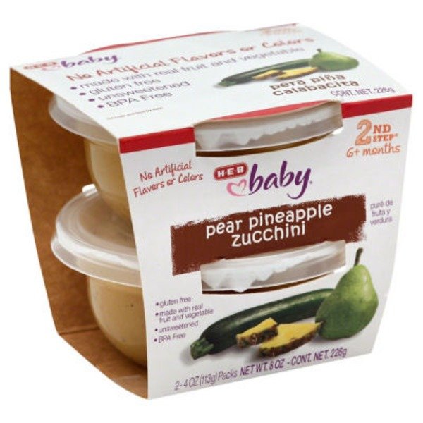 H-E-B Baby 2nd Step Pear Pineapple Zucchini Baby Food Cups
