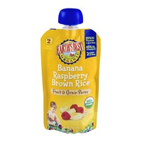 Earth's Best Organic Banana Raspberry Brown Rice Fruit & Grain Puree Stage 2