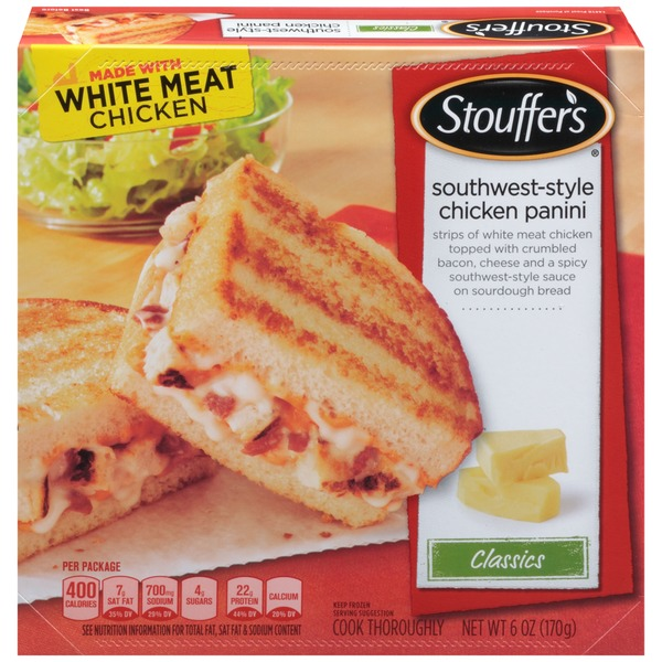 Stouffer's Classics Strips of white meat chicken topped with crumbled bacon, cheese and a spicy southwest-style sauce on italian bread Southwest-Style Chicken Panini