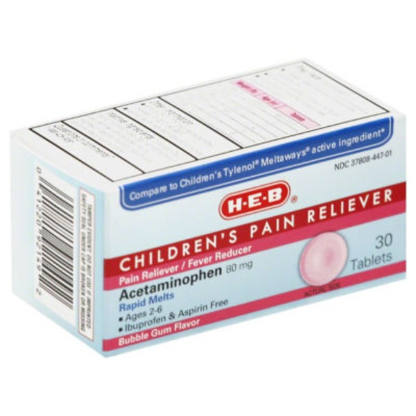 H-E-B Bubblegum Flavor Children's Pain Reliever Acetaminophen 80mg Ages 2-6