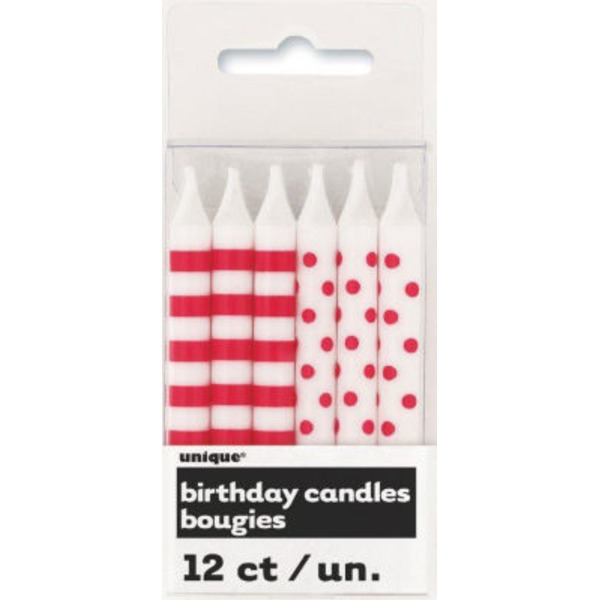 Unique Red Stripes & Dots Birthday Candles