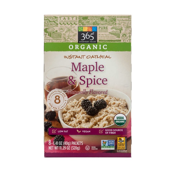 365 Organic Instant Oatmeal Maple & Spice Naturally Flavored