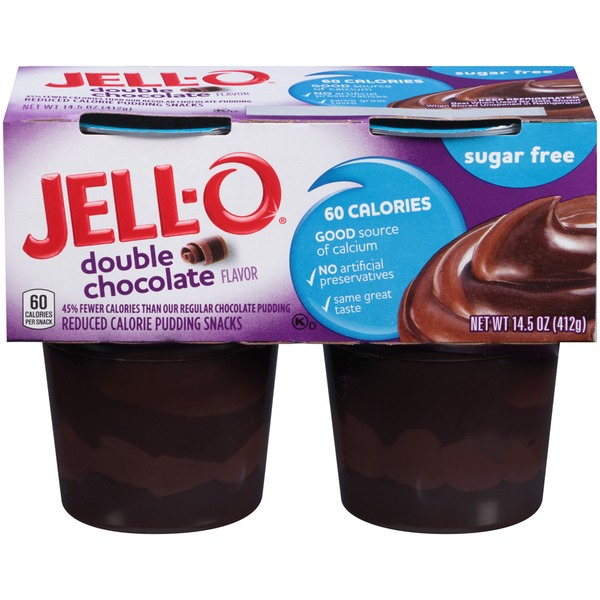 Jell O Ready To Eat Sugar Free Double Chocolate Reduced Calorie Pudding Snacks
