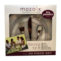 Mozaik Plates and Cutlery Set, Premium Heavyweight Plastic