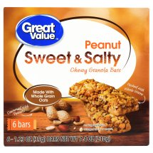 Great Value Chewy Granola Bars, Sweet & Salty Peanut, 1.23 oz, 6 Count