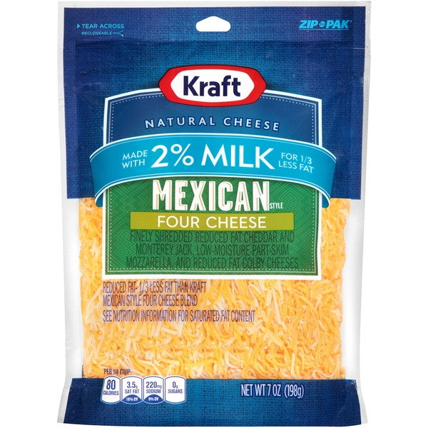 Kraft Mexican Style Four Cheese 2% Milk Shredded Cheese