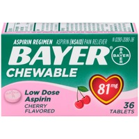 Bayer Low Dose Aspirin Cherry Flavored 81mg Chewable Tablets Pain Reliever