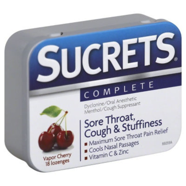 Sucrets Sore Throat & Cough Suppressant Lozenges Vapor Cherry - 18 CT
