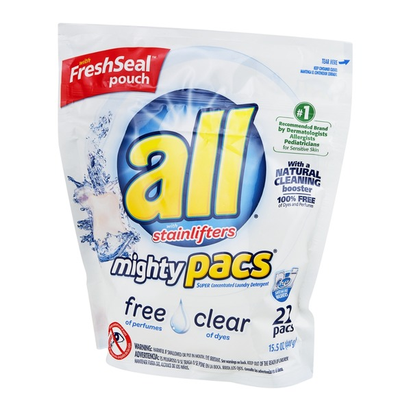 All with Stainlifters Mighty Pacs Super Concentrated Laundry Detergent Free and Clear - 22 CT