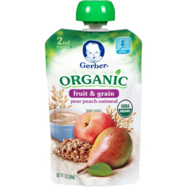 Gerber Organic 2 Nd Foods Organic Pears Peaches & Oatmeal Baby Food