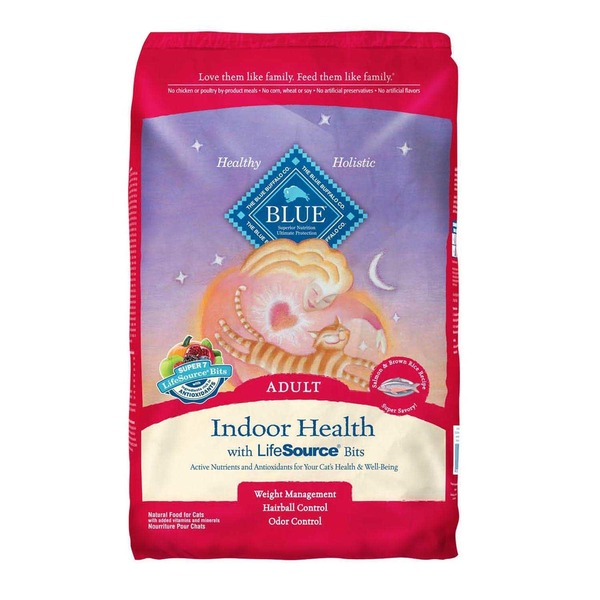 Blue Buffalo Food for Cats, Natural,  Indoor Health, Adult, Salmon & Brown Rice Recipe