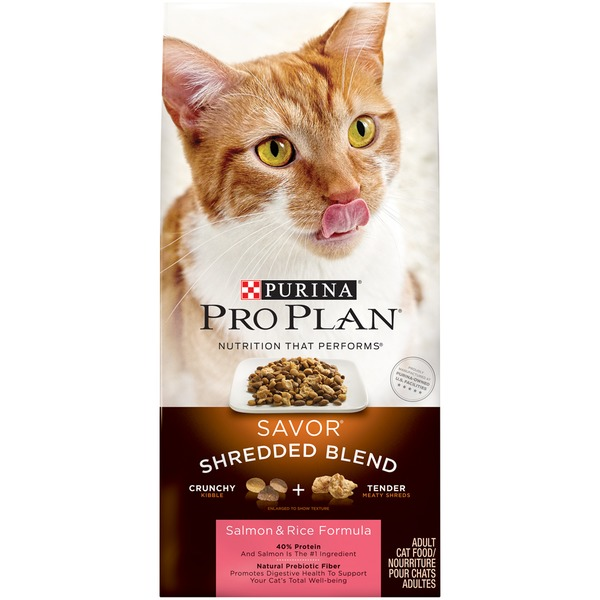 Pro Plan Cat Dry Savor Adult Shredded Blend Salmon & Rice Formula Cat Food