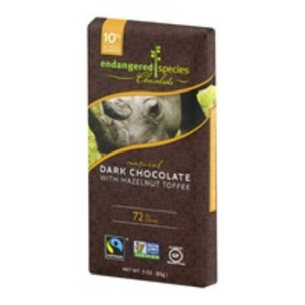 Endangered Species Chocolate Dark Chocolate With Hazelnut Toffee 72% Cocoa