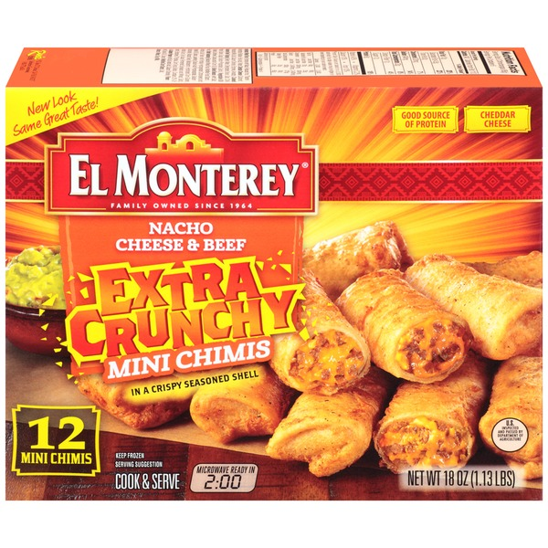 El Monterey Nacho Cheese & Beef Extra Crunchy Mini Chimichangas
