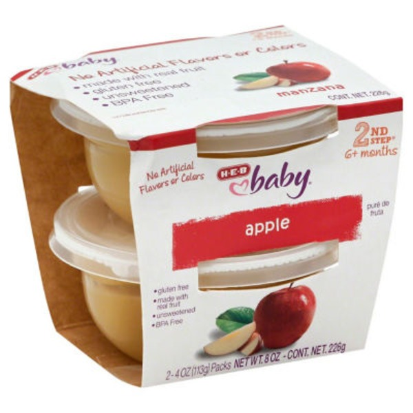 H-E-B Baby 2nd Step Apple Baby Food Cups