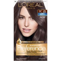 L'Oreal Paris Superior Preference Fade-Defying Color + Shine Hair Color, 5C Cool Medium Brown, 1 Kit