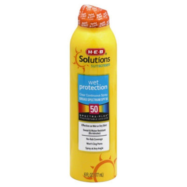H-E-B Solutions Wet Protection Broad Spectrum Sunscreen Spray Spf 50
