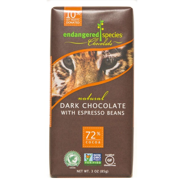 Endangered Species Chocolate Dark Chocolate With Espresso Beans 72% Cocoa