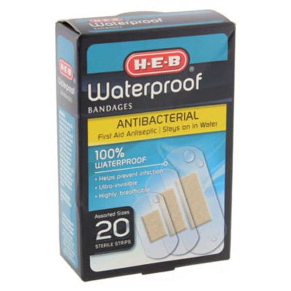H-E-B Assorted Waterproof Antibacterial  Bandages