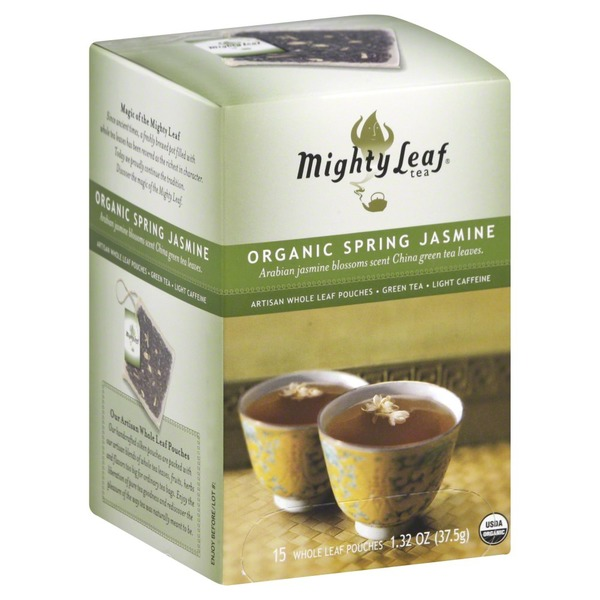 Mighty Leaf Mountain Spring Jasmine Caffeine Free Green Tea Artisan Whole Leaf Pouches