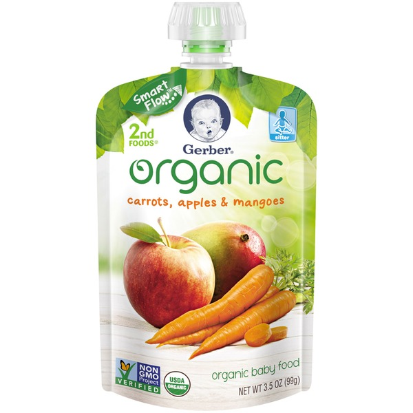 Gerber Organic 2 Nd Foods Organic Carrots Apples & Mangoes Baby Food