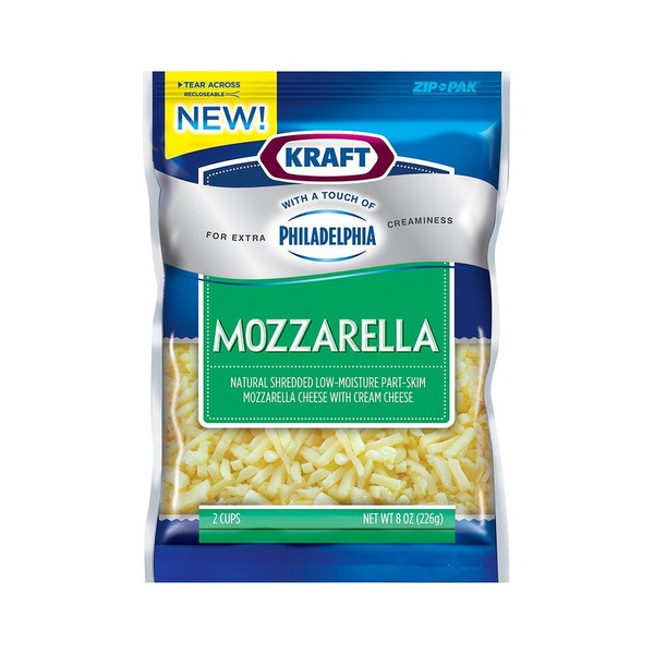 Kraft Shredded Mozzarella with a Touch of Philadelphia Cheese