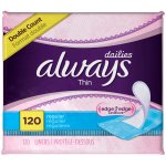 Always Thin Dailies Unscented Wrapped Liners 120 Count