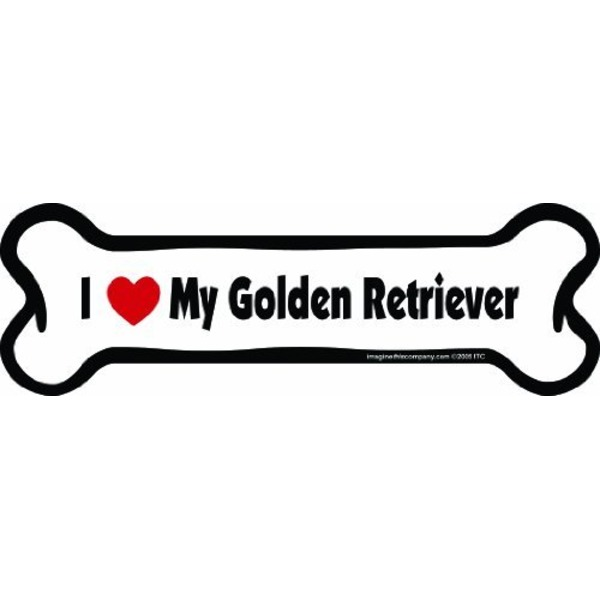 Golden Retriever Bone Car Magnet