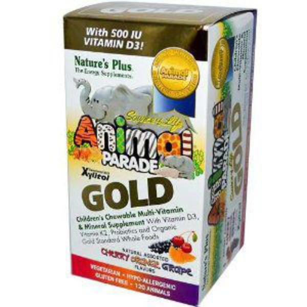 Nature's Plus Animal Parade Gold Assorted Multi-Vitamins With Xylitol